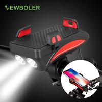 Newboler Bicicleta Power Bank Light USB Recargable Titular de teléfono Bell Bike Fariture 4000 MAH Ciclismo Cuerno Luz Luz