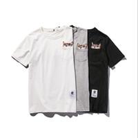 Mens-Sommer-New-T-Shirt Gestickte T Neutral Fest Farbe lose Kurzarm Rundhals Asiatische Größe M-2XL