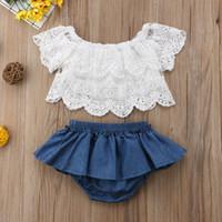 Bebê recém-nascido Roupas Infantis Meninas Tops Florais + Denim Vestido Calças Outfit 2 PCS