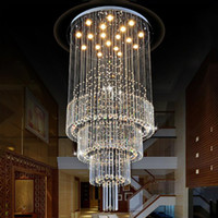 Modern Crystal Pendant Light Raindrop Lámparas de techo Light Crystal Lámpara colgante Sala de estar Comedor Escaleras AC110-240V con bombillas