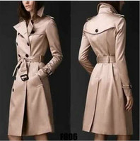 Automne New Femmes Trench Manteau long coupe-vent Europe Amérique Mode Tendance Double-breasted Slim long Trench Q1534