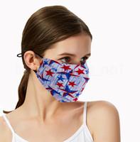 Independência dia face mask EUA máscara estrela impressa anti-poeira respirável boca dobra tampa unisex adulto algodão desenhador lavável FFA4058-5 máscara