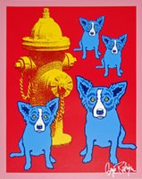 George Rodrigue Blue Dog Dog On Cherry Jello With Fireplug H...
