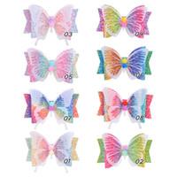 3.5 인치 소녀 반짝이 활 나비 헤어 파티 비치 D6408에 대한 헤어핀 그라데이션 무지개 색 헤어 핀 액세서리 키즈 모자 클립
