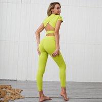 Yoga Outfits GXQIL PRO Fight Set Женщины 2 шт. Одежда для тренировки Активный носитель 2021 Спортивная одежда Спортивный комплект Жины Урожай Топ Желтый Красный Синий