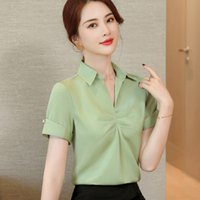 Professional short sleeve light green satin shirt women new ...