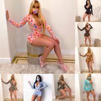 إمرأة أزياء الصيف الملابس طباعة Playsuit V الرقبة القصيرة كم طويل نحيل حللا السروال القصير بيجامة نيسيس ملهى ليلي بالاضافة الى حجم الملابس