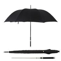 Schwertkrieger Selbstverteidigung Regenschirm Langer Griff Mann Automatik Windsicher Creative Business sonnig und Rainy Regenschirm Geschenk T200117