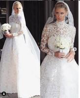 Vestidos De Casamento Muçulmano Do Vintage Pescoço Cheia Laço Completo Manga Longa Praia A África Vestidos De Noiva Vestidos De Noiva Barato vestito da sposa 2019