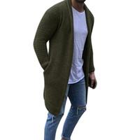 Мужчины Casual Solid Кардиган Streetwear с длинным рукавом вязаные свитера осень мужские Slim Fit свитер Шинель Плюс размер 3XL