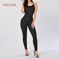 Kadın Tulumlar Tulum Wiccon Rahat Tarzı Skinny Tulum 2021 Yaz Katı Renk Romper Tulum Sleeveless Bodycon Pamuk Bayan Atlama