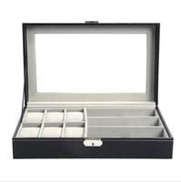 Reloj multifuncional Mostrar caja de almacenamiento Gafas de sol Organizador Reloj Gafas Soporte de caja de caja de joyería negra