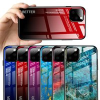 Funda de vidrio de color de gradiente de mármol para iPhone 11 11PRO 8 x XR XS Max Glossy Funda para para IPHONE 6 6S PLUS