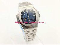 2020 Новые часы Мужчины Luxury Прибытие 5712 / 1A-001 автоматические часы 40мм синий циферблат из нержавеющей стали Прозрачная стеклянная задняя мода Мужские часы