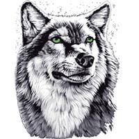2 размера серый волк Заплаты Теплоотдача Утюг На Заплатке A-level Моющиеся Стикеры Одежды Легко Печати Утюги