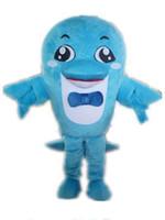 chaud 2019 usine un beau costume de mascotte de dauphin avec un bowknot pour adulte à porter