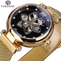 Forsining 새로운 도착 Mehanical 여자 시계 최고 브랜드의 럭셔리 다이아몬드 골드 메쉬 방수 여성 시계 패션 여성 시계