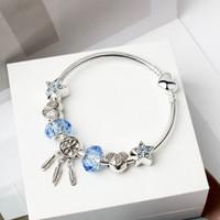 Colector ideal joyería de la pulsera de cristal diamantes de imitación de la estrella azul DIY 925 de la plata del Niñas Mujeres granos del encanto del corazón colgante pulseras accesorios