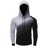 Casual Males Clothing Gradient Panelled Mens Designer Hooded...