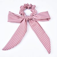 New Arrival Striped Bow detail Women Scarf Tie with Scrunchi...