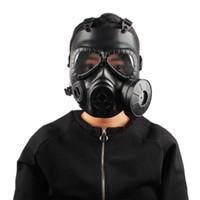 2018 Outdoor sport del casco doppio filtro Maschera antigas CS Tactical Army sudore della protezione di fronte Maschera con il ventilatore Proteggere Casco