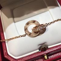 joyería de moda collar de amor mujeres de los hombres de doble anillo de la CZ llena dos filas collar de diamantes octogonal tornillo de amor collar de par de regalo