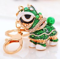 2019 Chinese Style Animal Keychain Lion Crystal Enamel Key C...