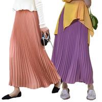 Etnik Giyim Kadın Pileli Uzun Etek Moda Müslüman Dipleri Katı Yüksek Bel Maxi Etekler Elbise İslam Abaya 2021 İlkbahar Yaz