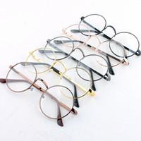 f0d76b2e4 أزياء النساء الرجال معدن جولة كامل حافة النظارات إطار واضح عدسة النظارات  جديد واضح عدسة النظارات