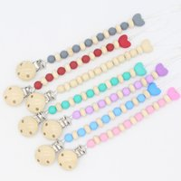 Pacifier Chain with Silicone Beads Natural Wooden Beads Baby...