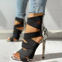 Mode romaine Femme Talons Super High Talons Femmes Pompes Chaussures Femmes Été Temps fins Chaussures de fête de mariage Peep Toile pour Sandales
