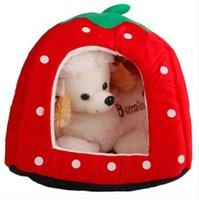 도매 무료 소프트 코튼 귀여운 딸기 스타일 다목적 애완 동물 개 고양이 하우스 둥지 유르트 운송