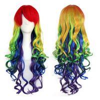 サイズ:調整可能な色とスタイルの合成新しいアクセサリーレインボーふわふわのかつら巻き毛の多色レディパーティー女性コスプレウィッグ