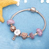 Bracelet en or rose Fleur de cerisier Tassel Boule de cristal Perle Pendentif Charm Bracelets Tendance Bracelets pour femmes Bijoux Cadeaux fille