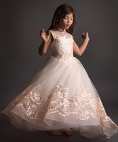 Vintage Lace Embroidery Flower Girl Dress Kids Pageant Ball ...