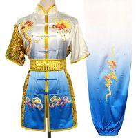 쿵후 옷 의상 무술을 taolu 중국어 무술 유니폼 남성 여성 소년 소녀 아이들을위한 전환 컬러 의류 루틴 기모노를 채비를 차려