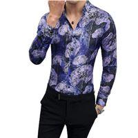 Herrenkleid Hemden 2021 Männer Mode Koreanische Version Langarm Hemd Friseur ModeAlle Blume Qualität Mann Stehkragen Casual Top