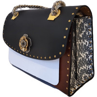 The new channel package large mountain La Traviata mixed colors rivet first layer of leather snakeskin party bag Shoulder Messenger chain