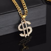 US Dollar Money Pendant Necklaces Luxury Gold Color Long Cha...