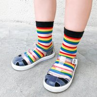 Colorful New Rainbow Kids Socks Summer Thin Comfortable Brea...