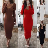 Double V Women Sexy Bodycon Long Dress Autumn Winter Knitted...