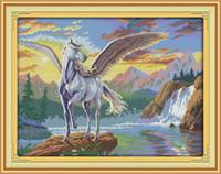 Uçan at hayvan Manzara dekor resimlerinde, El Yapımı Çapraz Dikiş Nakış İğne setleri tuval üzerine baskı sayılan DMC 14CT / 11CT