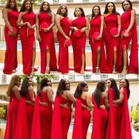 Ucuz Kırmızı Mermaid Gelinlik Modelleri Bir Omuz Yan Bölünmüş Uzun Düğün Konuk Elbise Örgün Hizmetçi Onur Törenlerinde