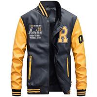 Кожаная куртка Мужская повседневная флисовая куртка сгущенная из искусственной кожи Колледж-бейсбол Moto Biker Куртки-бомберы Jaqueta De Couro Masculino Большой размер