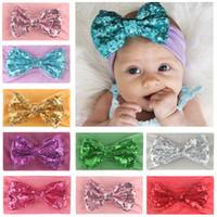 Nova Europa Bebés Meninas Big Bow Headband crianças Nylon Elastic Sequins bowknot Hairband Crianças Bandanas cabeça banda Acessório de Cabelo 8 cores 14978