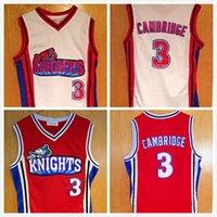 كامبريدج جيرسي # 3 مثل مايك la فرسان الفيلم الفانيلة كرة السلة الفانيلة أبيض أحمر اسم stiched number logo