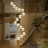 Merdiven Uzun Kolye Işıkları Modern Minimalist Villa Nordic Lambaları Oturma Odası Işıkları Döner Merdiven Asılı Lamba Kolye Işık