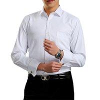 قمصان ملابس رجالية كلاسيكية الأصفاد الفرنسية القميص الصلب مغطاة بلاكيت الأعمال الرسمية تناسب سهرة (أكمام شملت)