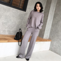 Le costume féminin et ensembles Casual 2 Pantalons Pull Tricoté Piece Set Costumes Casual Pantalon en tricot + Jumper Tops Set Vêtements