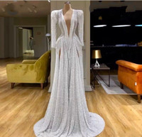 Sexy Long Sleeves Evening Dresses With Deep V Neck Front Split Sequined Prom Dress Long Vintage Celebrity Party Gowns robe de soiree